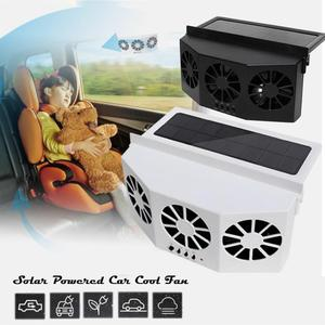 New Solar Powered Car Cooler Window Radiator Exhaust Fan Auto Air Vent Radiator Fan Ventilation Radiator Cooling System for Car(China)