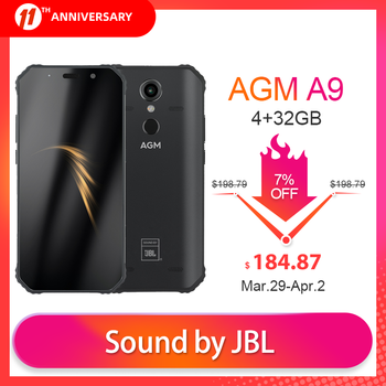 """OFFICIAL AGM A9 JBL Co-Branding 5.99"""" FHD+ 4G+32G Android 8.1 Rugged Phone 5400mAh IP68 Waterproof Smartphone Quad-Box Speakers"""