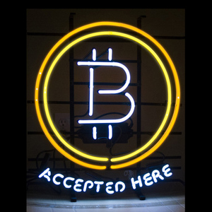 Биткоин принимается здесь неоновая вывеска на заказ ручной работы из настоящего стекла банк компании Cybermoneney цифровой дисплей валюты неоно...