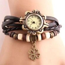 Марочный часы женские Четырехлистный клевер подвеска часы Искусственная кожа Браслет женские часы Деревянная бусина часы женские наручные