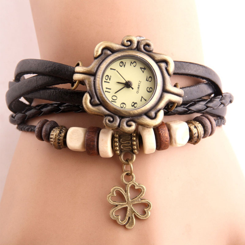 Vintage Four-leaf Clover Pendant Watch Imitation Leather Bracelet Women Watches Wooden Bead Ladies Wrist Watch Women Reloj Mujer