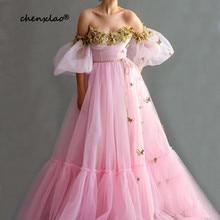 robe de soiree Pink Evening Dresses Long Lace Beaded Off The Shoulder Half Sleeves Floor Length Evening Dress Vestido De Festa lace off shoulder half sleeves womens dress
