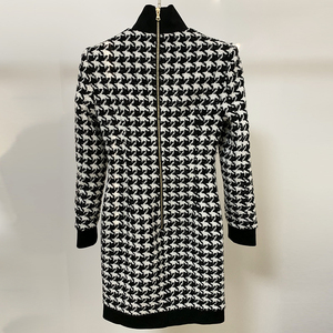 Image 3 - HIGH QUALITY Runway 2020 Stylish Designer Dress Womens Lion Buttons Shimmer Tweed Houndstooth Dress