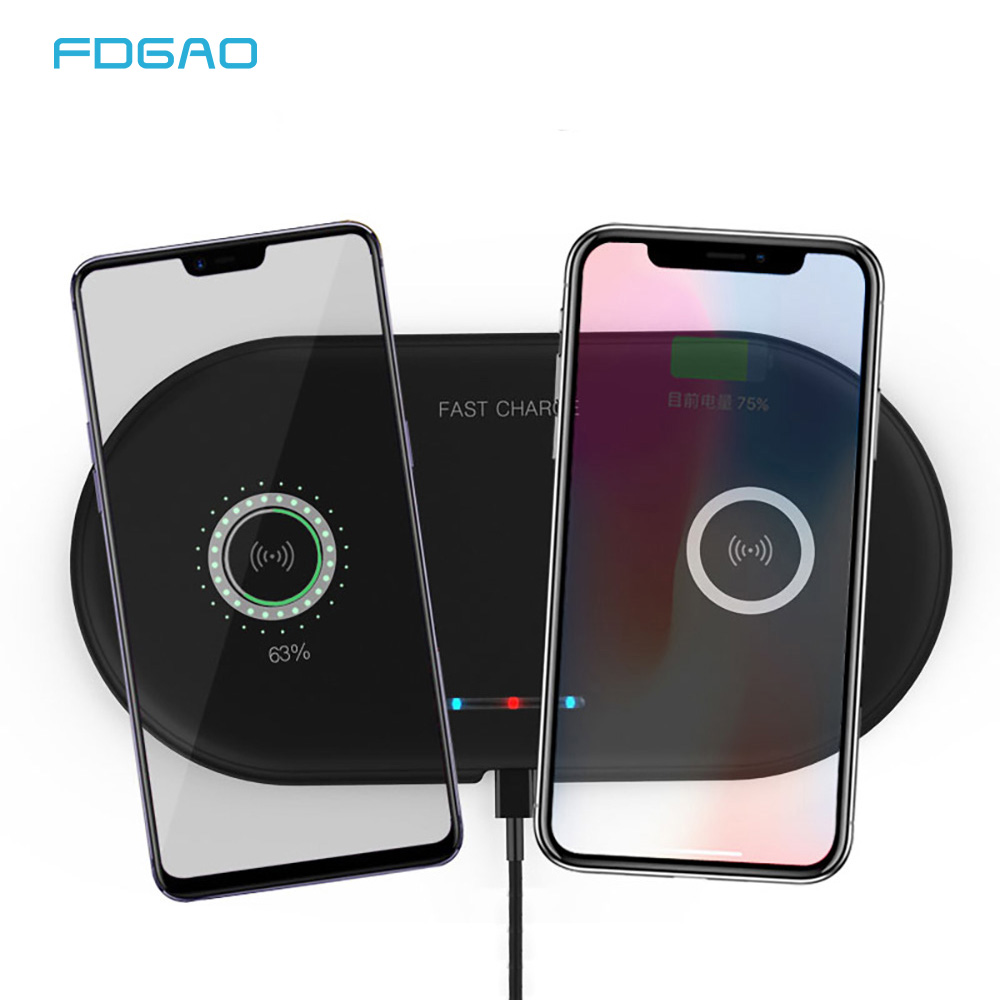 2 In 1 Dual 10W Qi Wireless Charger For IPhone 11 Pro Xs Max XR Fast Wireless Charging Pad Phone Charger For Samsung S10 Airpods