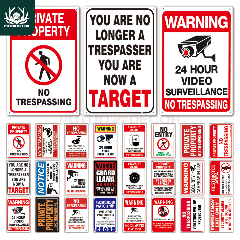 No Trespassing Sign Warning Metal Sign Video Surveillance Sign Wall Decor Yard Sign No Entry Metal Signs