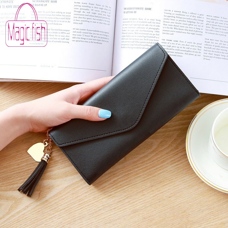 Magic Fish Long Wallet Women Purses Tassel Fashion PU Leather Purse High Quality Clutch Heart-shaped Pendant Litchi Pattern