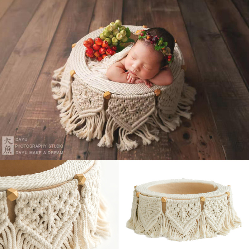 Newborn Photograph Props Bohemian Tassel Basket Baby Prop Chair Kid Studio Accessory Baby Photo Shoot Infantil Fotografie Props