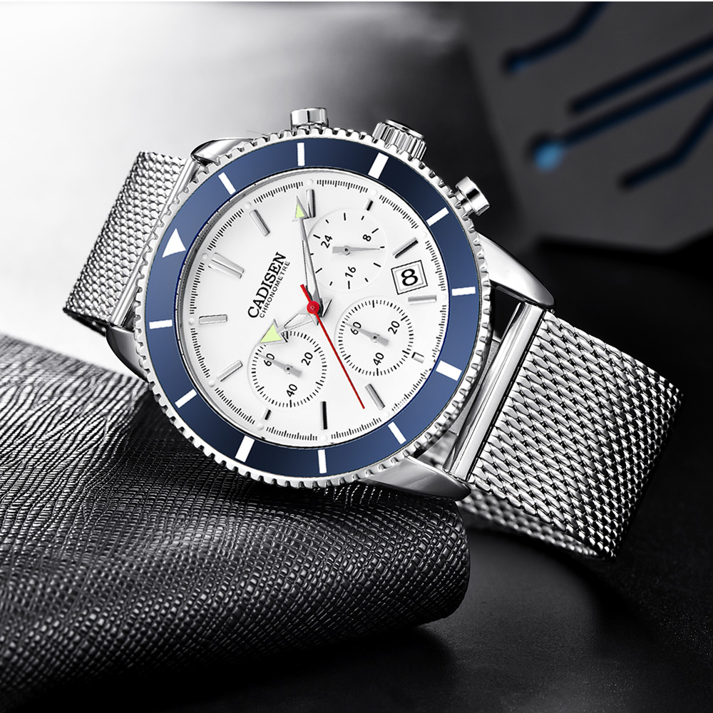 2019 CADISEN Fashion Luxury Watch Quartz Mens Watches Milanese Strap Waterproof Clock Men Erkek Kol Saati  Relogio Masculino
