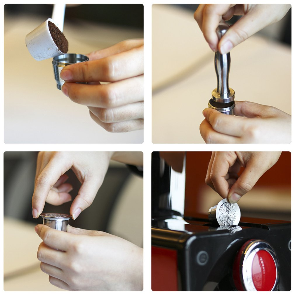 Refillable Square-hole Coffee Capsule Pod Filter Dripper Tamper Stainless steel Compatible with Nespresso Coffee Machine