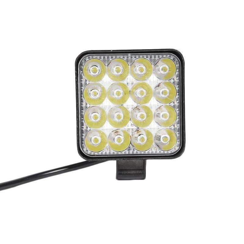 12V-24V Car Light 16LED Work Lamp 48W 2880LM 6500K IP67 Waterproof Square Spotlight Shockproof Car Truck Spot Fog Lamp