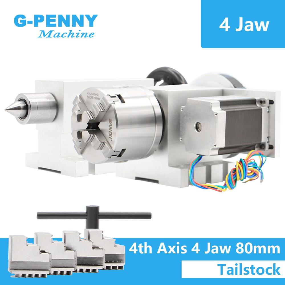 4 Jaw 80mm  4th Axis+Tailstock CNC Dividing Head Rotation Axis/ A Axis Kit  For Mini CNC Router/engraver Wood Working Engraving