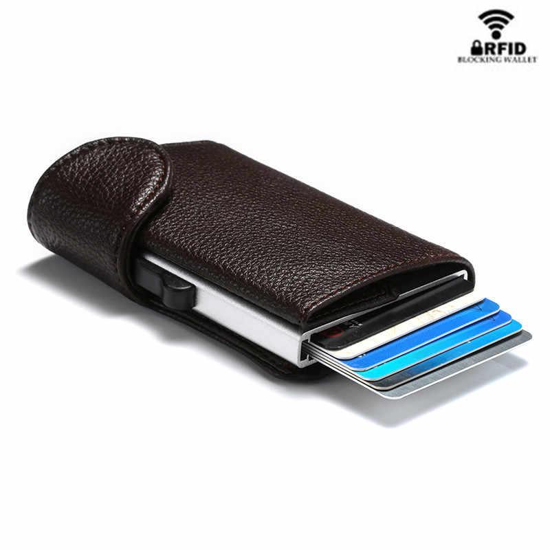 Bisi Goro 2020 Smart Portemonnee Rfid Enkele Veiligheid Doos Creditcardhouder Vintage Pu Leer Zacht Mannen En Vrouwen Pop up Card Wallet