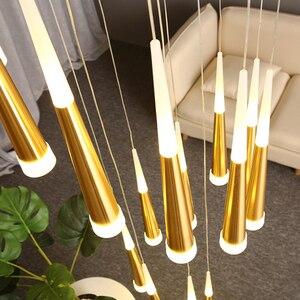 Image 5 - Nordic moderno lustre de cristal sala estar quarto pendurado lâmpada escada decoração pingente lustres led iluminação interior