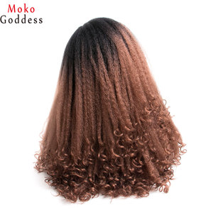 Image 4 - MoKoGoddess Afro Kinky Curly Wigs For Black Women Long Synthetic Wig African American Braided Wigs