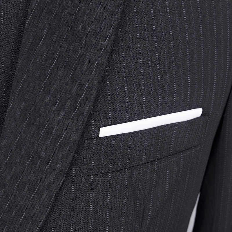 Black Blue Brown Striped 3 Piece Business Party Men Brand Trousers Suits Wedding Groom Tuxedo Blazer Pant Vest Men's Slim Suite