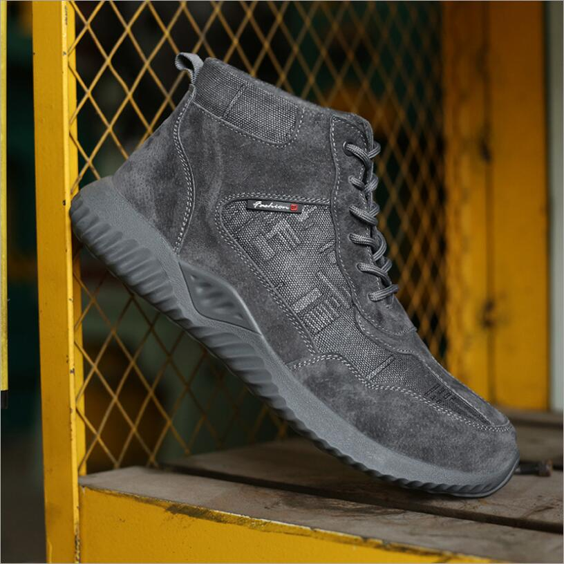 C777 aço toe sapatos de trabalho de segurança homens 2019 moda respirável deslizamento em anti-esmagamento anti-perfuração indestrutível trabalho martin boot