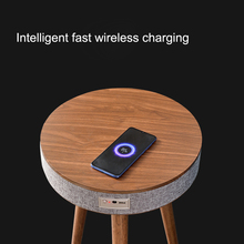 Creative Coffee Table with Smart Bluetooth Speaker Home Room Wireless Inductive Charging 3D Surround Voice Wooden Tea Table
