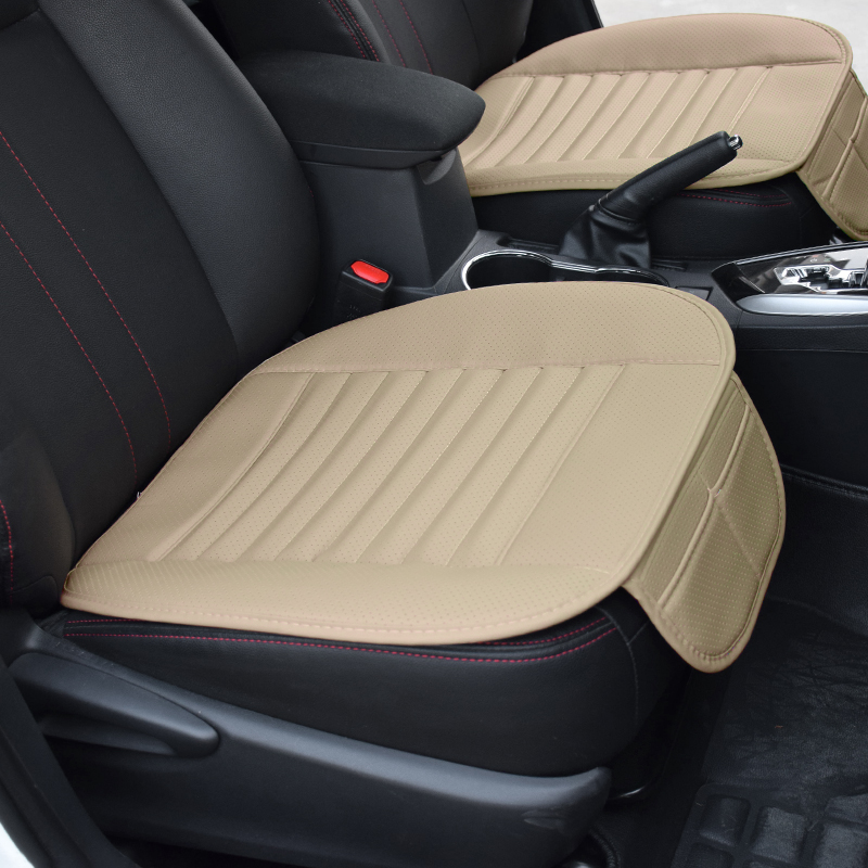 1pc Car Seat Cover Set Without Backrest PU Leather Bamboo Charcoal Non-slip Protector Cushion Non-slip for Golf Bmw Passat Volvo