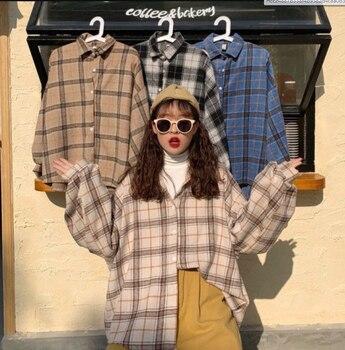 Chemisier femme revers col montant printemps chemise plaid tout match manches chauve-souris veste ample Harajuku femme 6 couleurs chic chemise 1