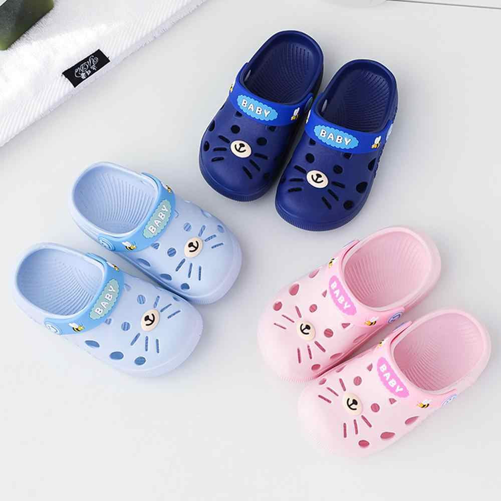 Slippers Kids Toddler Infant Baby Girl Boys Home Slippers Rubber Cartoon Animation Cat Flat Heels Shoes Sandals Kids Slippers