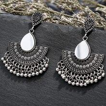 Indian Tribal Earring Dangle Drop Flower Ornate Swirl Gypsy For Women Boho Vintage Charm Ethnic Jewelry