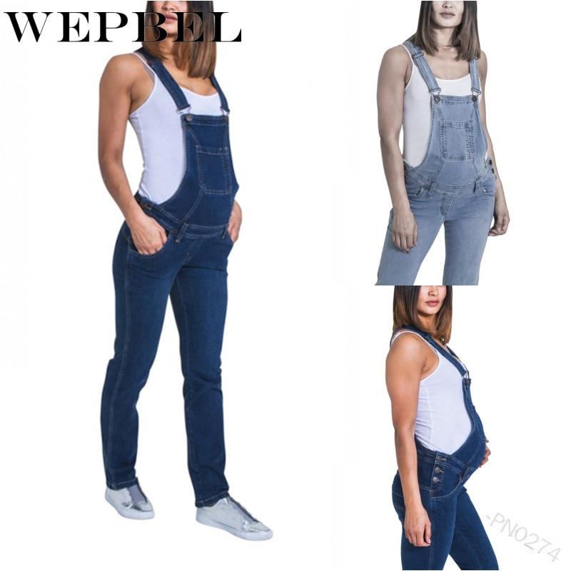 WEPBEL Women's Maternity Overalls Pregnant Breathable Long Pants Casual Denim Jumpsuit Pregnancy Clothes Mom Jeans Bib Pants