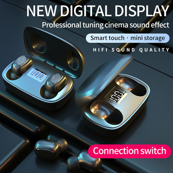 2020 New Bluetooth V5.0 Earphones LED Touch Control Tws Wireless Headphones 9D Stereo Music IPX7 Waterproof Earbuds Headset T10