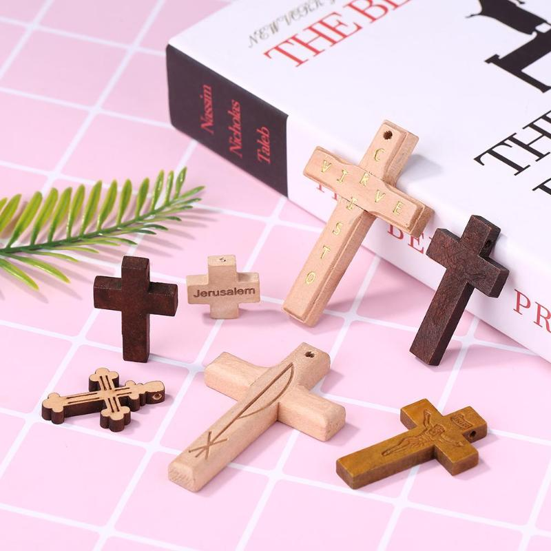 5/10/20pcs  DIY Wooden Cross Scrapbook Bags Art Crafts Jesus Christian Religion Charm Pendant Decorative Accessories