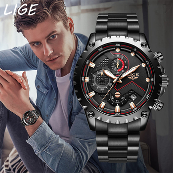 LIGE 2020 New Fashion Mens Watches with Stainless Steel Top Brand Luxury Sports Chronograph Quartz Watch Men Relogio Masculino fashion quartz watch men watches top brand luxury male clock stainless steel watches mens wrist watch hodinky relogio masculino
