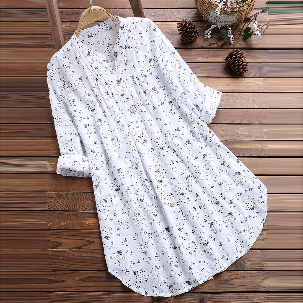 Plus Size Women Tunic Shirt Autumn Long Sleeve Floral Print V-neck Blouses And Tops Button Big Size Women Clothing Bluzka #T2G Clothing Women's Clothing