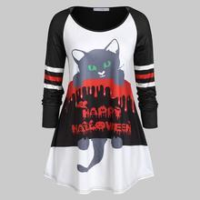 Женские свободные повседневные топы с длинными рукавами на Хэллоуин, с принтом кота, с круглым вырезом, модное средневековое платье темная душа, косплей, feminino, черный Клевер#7
