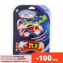 Гибкий трек 1TOY Машинка пульт д/у Набор гибких рельсовых дорожек машинки для мальчиков игрушки для мальчиков