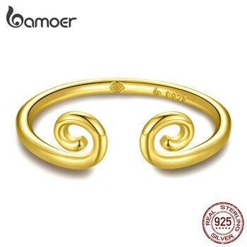 Кольца для пар bamoer, кольца для пар золотого и серебряного цвета с надписью «Monkey King», 925 пробы, BSR071