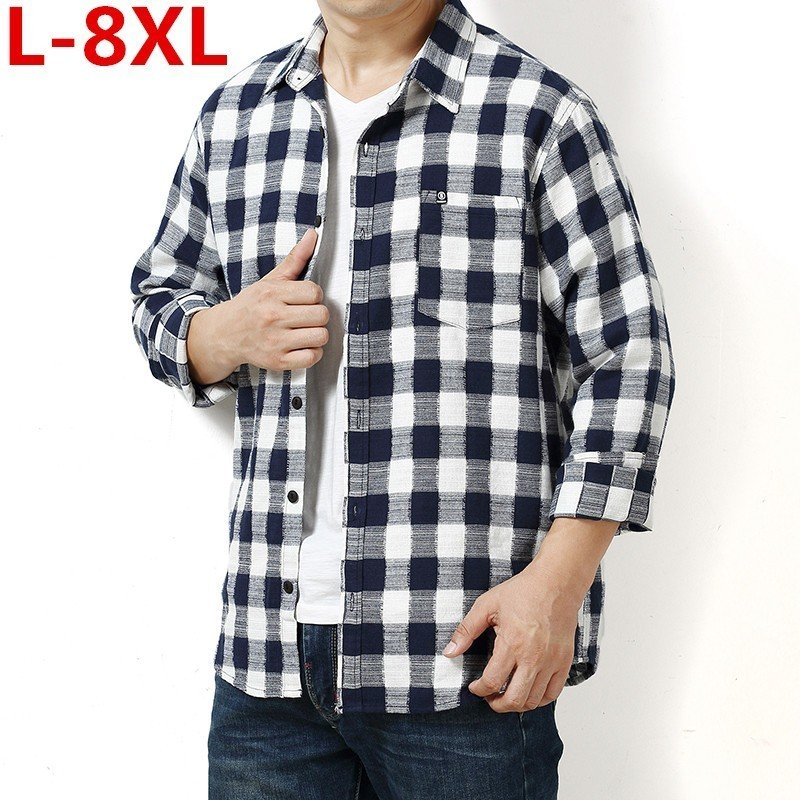 New Plus Size New 8XL 7XL 6XL 5XL 4XL Men's Plaid Cotton Dress Shirts Male Long Sleeve Fit Business Casual Shirt Camisa For Man