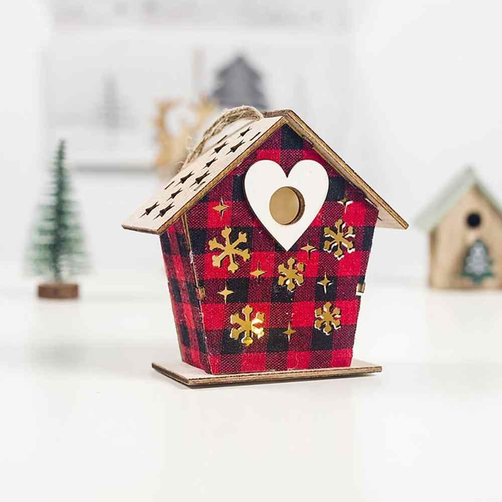 LED Light Wood House Cute Christmas Tree Hanging Ornaments Holiday Decoration Christmas tree pendant Child christmas present @25