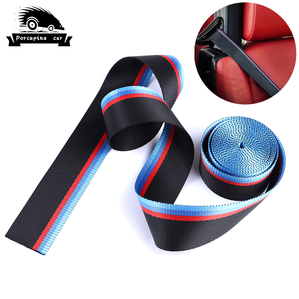 3.8 Meter/roll 2inch Seat Belt M Strip Racing Harness Ribbon Auto Safety Webbing For BMW 1 3 5 6 7 X5 X6 E46 E39 E36 E90 F10 F30 image