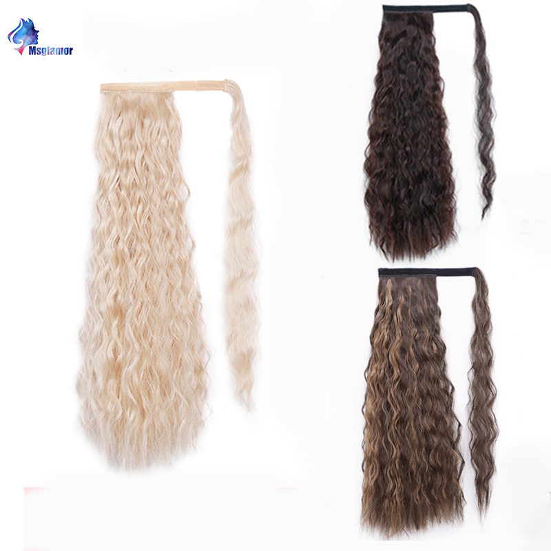 Drawstring Curly Ponytail Hairpieces With Hairpins Fake Hair Tail Synthetic Long Ponytail Hair Extensions Clip In Lmsglamor