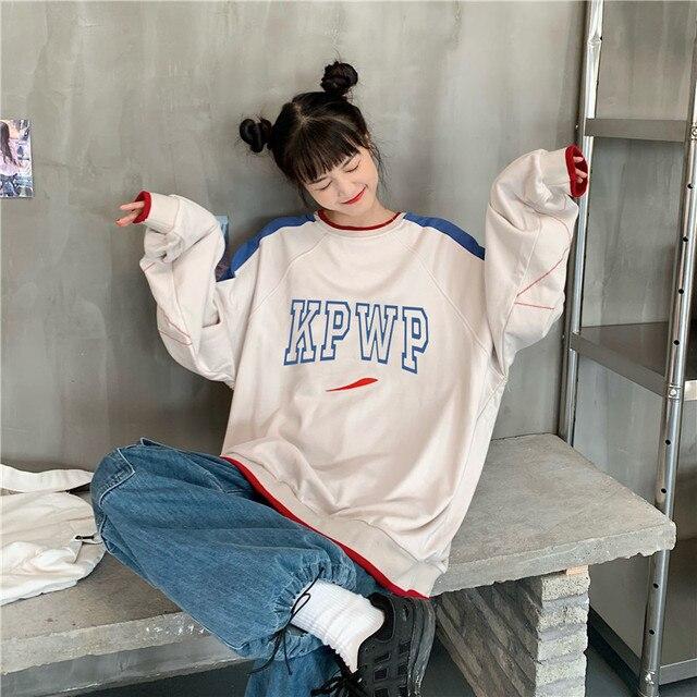 Фото свободные женские свитшоты с буквенным принтом в стиле харадзюку цена
