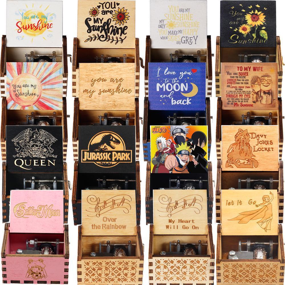 Музыкальная шкатулка 52 вида, розовая, белая, синяя, черная, деревянная, You Are My Sunshine, музыкальная шкатулка крестного отца, тема музыки, подарок ...