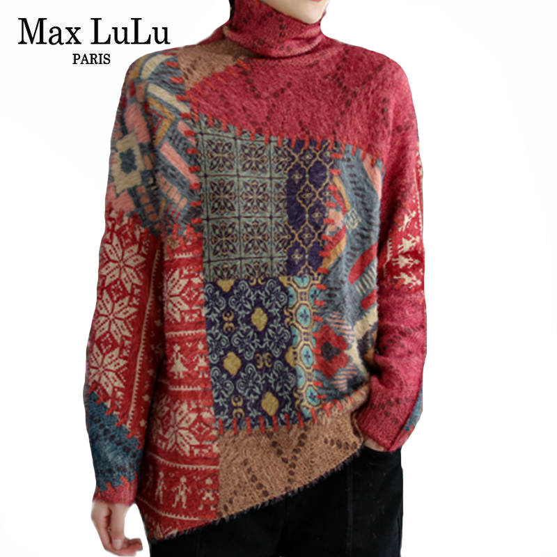 Knitted Sweater Pullovers Max-Lulu Turtleneck Loose Printed Luxury-Style Womens Plus-Size