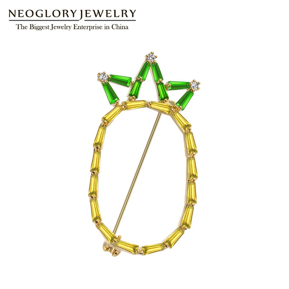 Neoglory Trendy Pineapple Brooches for Women 2020 New Style Cubic Zircon Fruit Pins For Cosplay Jewelry Gift For Girl Friend