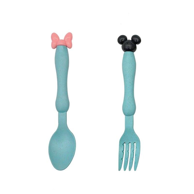 3 шт./компл. Детские чаша+ ложка+ Вилка питания Еда посуда Носки с рисунком медведя из мультика детская посуда, столовая посуда с защитой от перегрева тренировок с суповую тарелку, производство Китай - Цвет: Blue SpoonFork