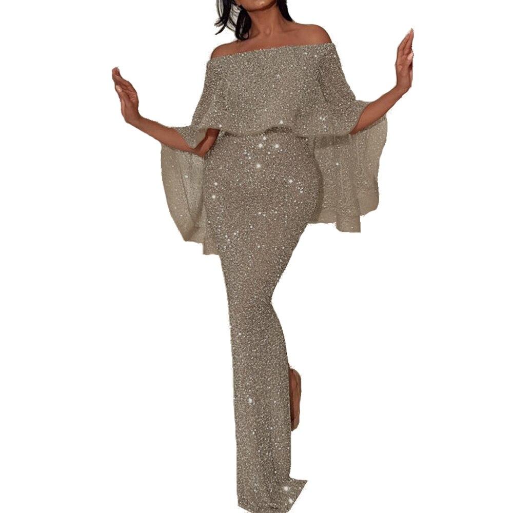 Evening Party Wedding Maxi Dress Women Silver Bling Sequins Lady Dress Elegant Bat Sleeve Floor Length Formal Prom Vestidos D40