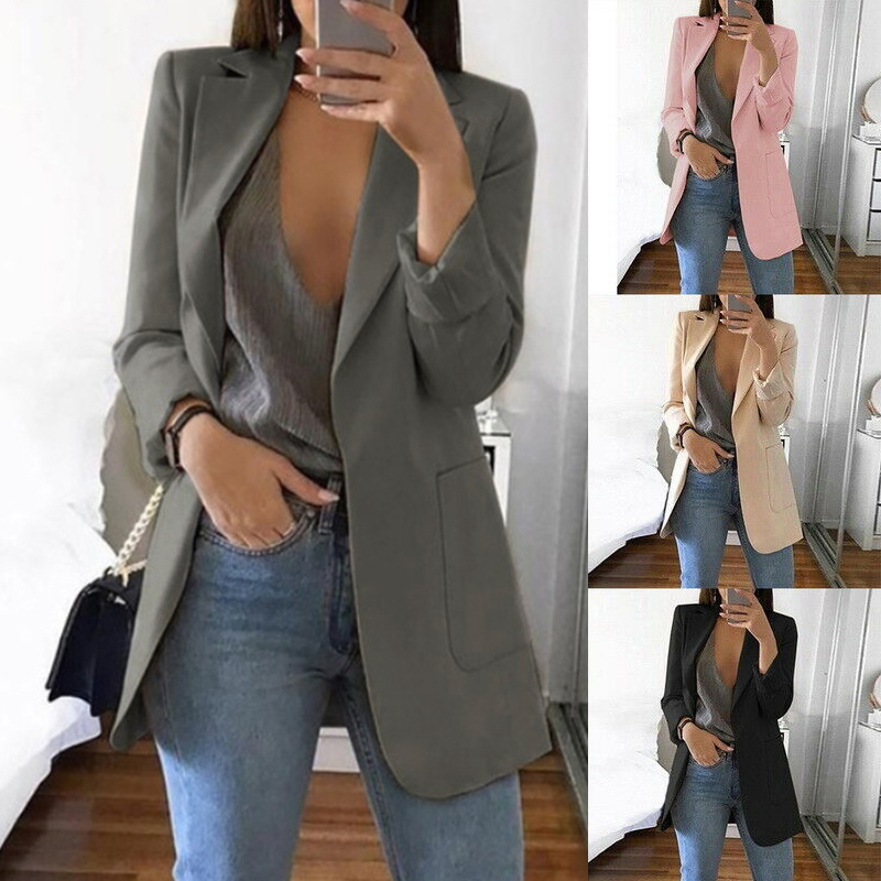 Hot Sale 2019 Women Casual Slim Temperament Business Blazer Suit Female Office Lapel Cardigan Blazer Coat Female Solid Color