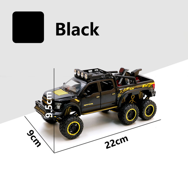 1:32 Raptor F150 Big Wheel Alloy diecasts & toy Car Model With Sound/Light/Pull-back Car Toys For Children Kids Xmas GiftsDiecasts & Toy Vehicles