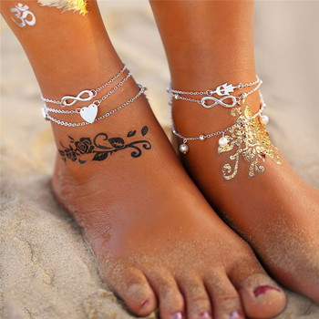 IF ME Bohemian Layer Chain Moon Sun Bracelet on Leg Anklets for Women Vintage Silver Adjustable Metal Anklet Beach Jewelry New 1