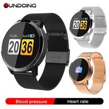 Rundoing q8 relógio inteligente tela colorida oled smartwatch masculino moda rastreador de fitness freqüência cardíaca