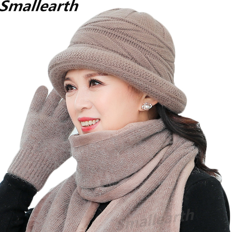 New Winter Women Rabbit Fur Hat Scarf Gloves 3pcs Set Lady Warm Wool Knitted Plush Scarves 3pcs Mom Cap Gifts Thick Fleece Shawl