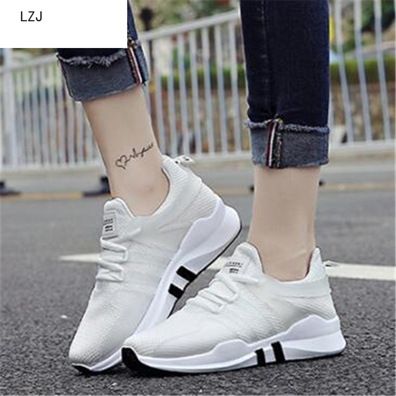 LZJ New 2019 New Spring And Autumn Simple Mesh Female Fashion Casual Sports Non-slip Shoes Leather Stitching White Shoes 35-40
