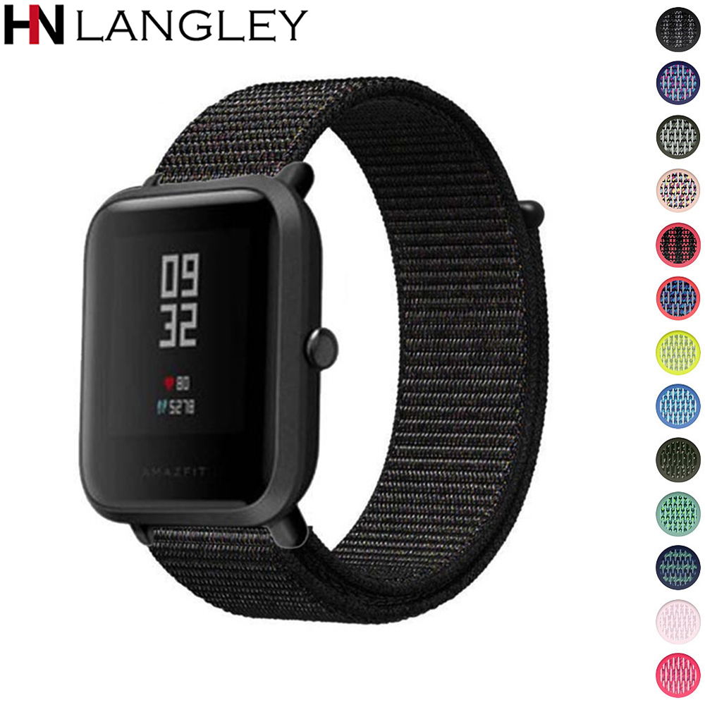 20mm Nylon Loop Watch Band For Amazfit Bip Band Replace For Xiaomi Huami Amazfit Bip Youth Band Bracelet Woven Nylon Strap